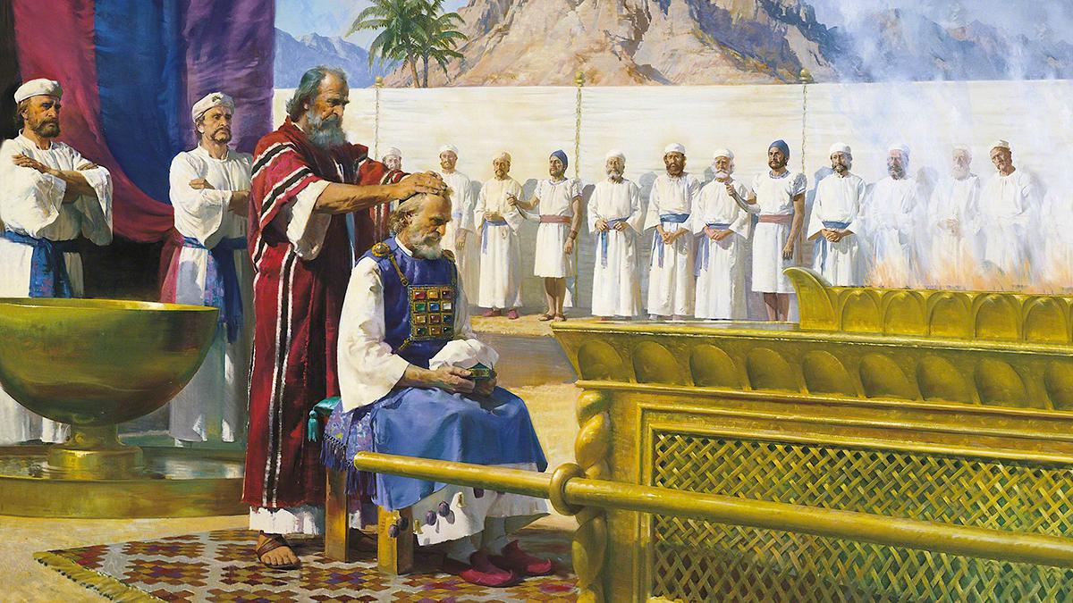 Aarón bendice a sus hijos