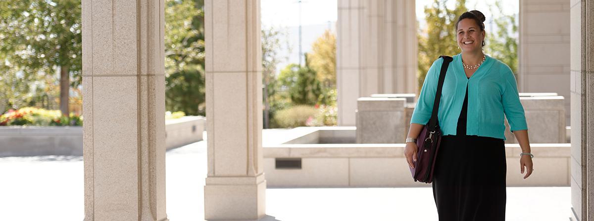 Woman outside Temple
