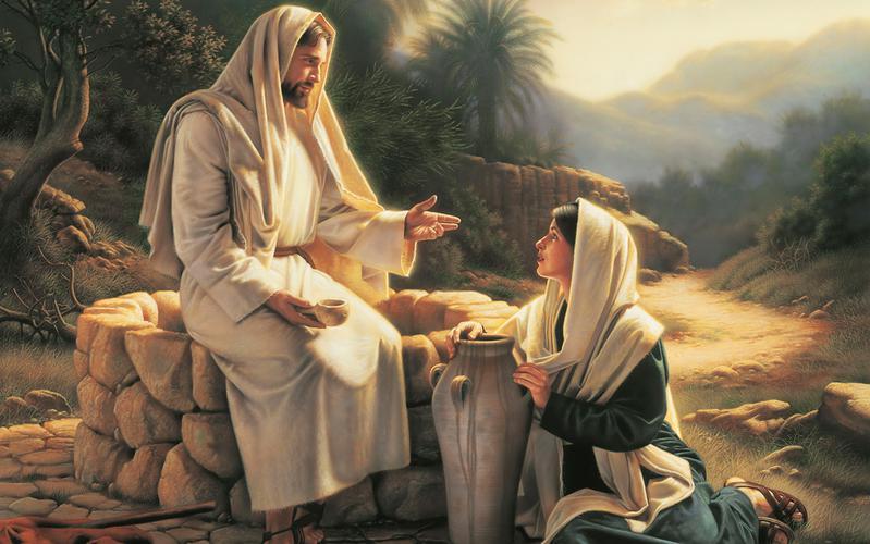 Gesù Cristo con insegna una donna