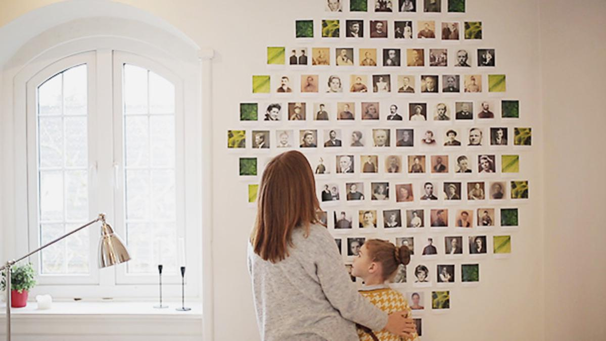 mother and daughter are creating a family tree