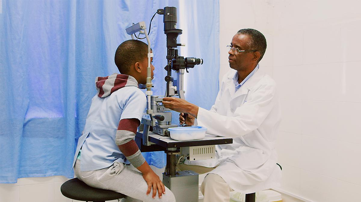 a child gets an eye exam in Cape Verde