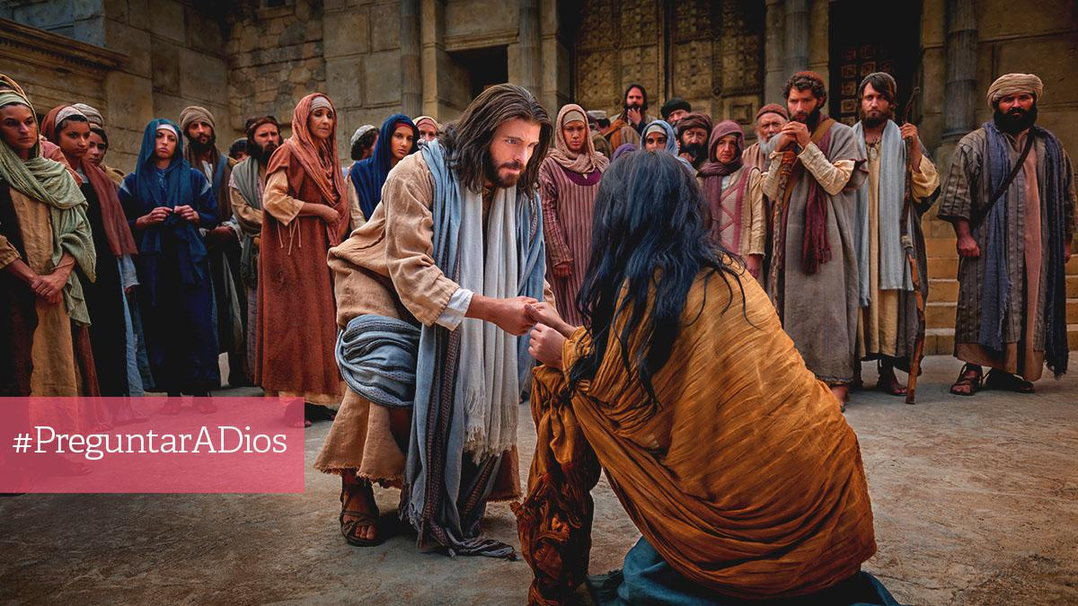 Jesus helps a woman