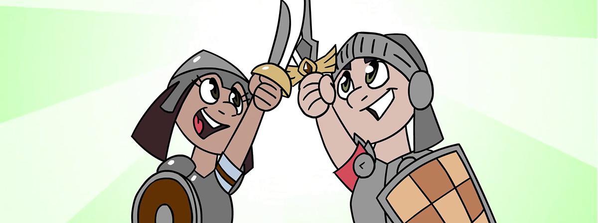 Dwoje dzieci zakłada rycerską zbroję