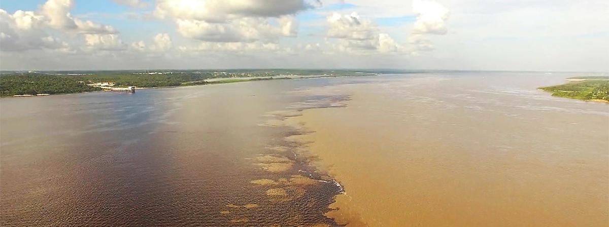 Uma perspetiva aérea do rio Amazonas