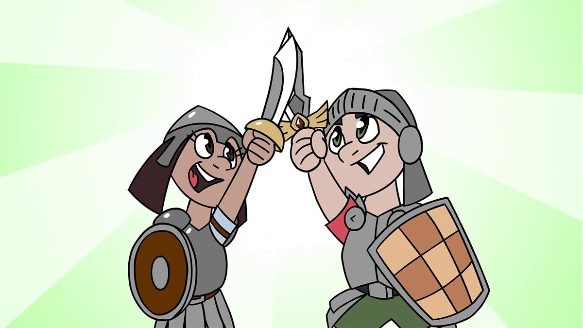 To barn som har på seg ridderrustning