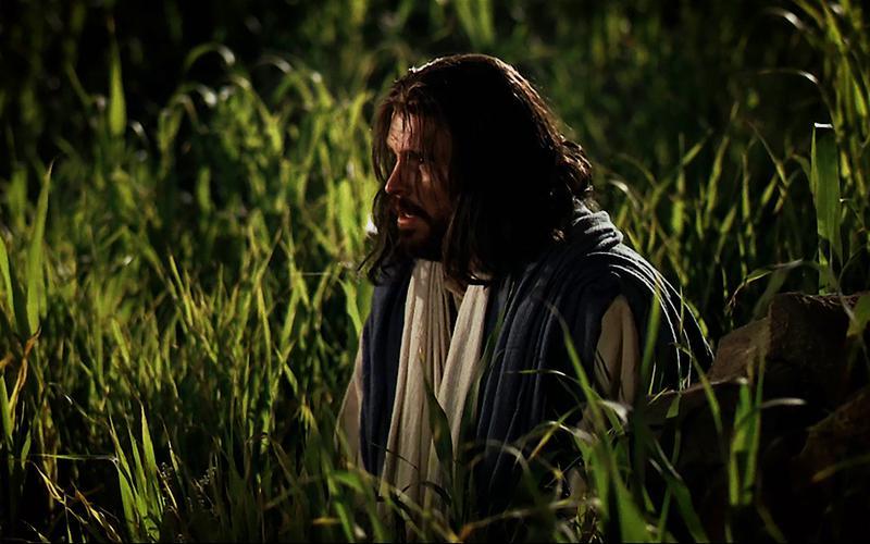 Jesus Cristo ajoelhado no Jardim do Getsémani.