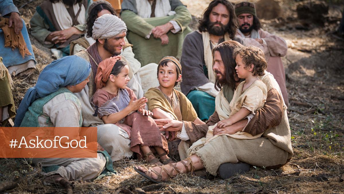 Jesus sidder med børn