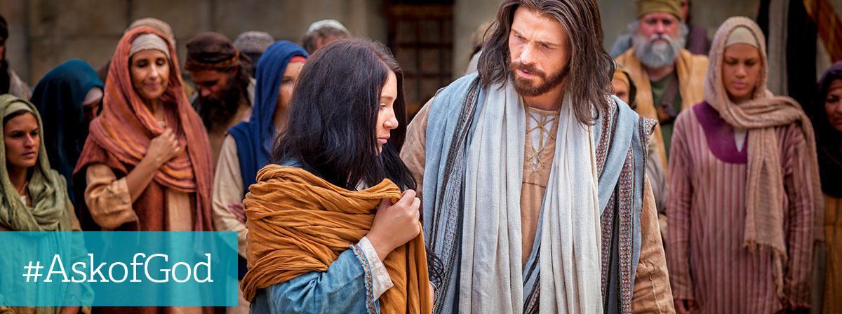 Jesus og kvinde i folkemængde