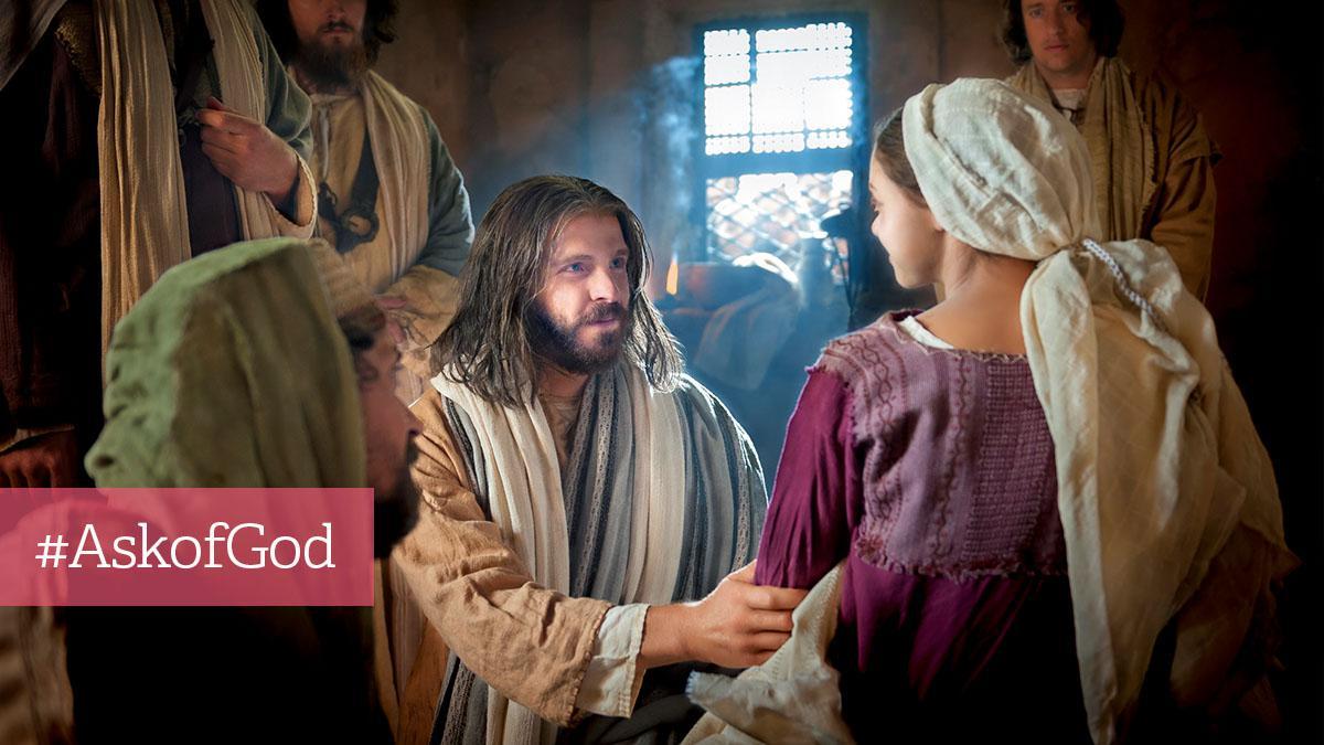 Jesus taler til kvinde i bygning