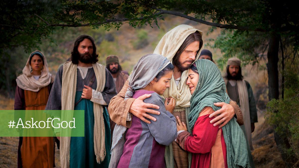 Jesus Kristus omfavner to grædende kvinder
