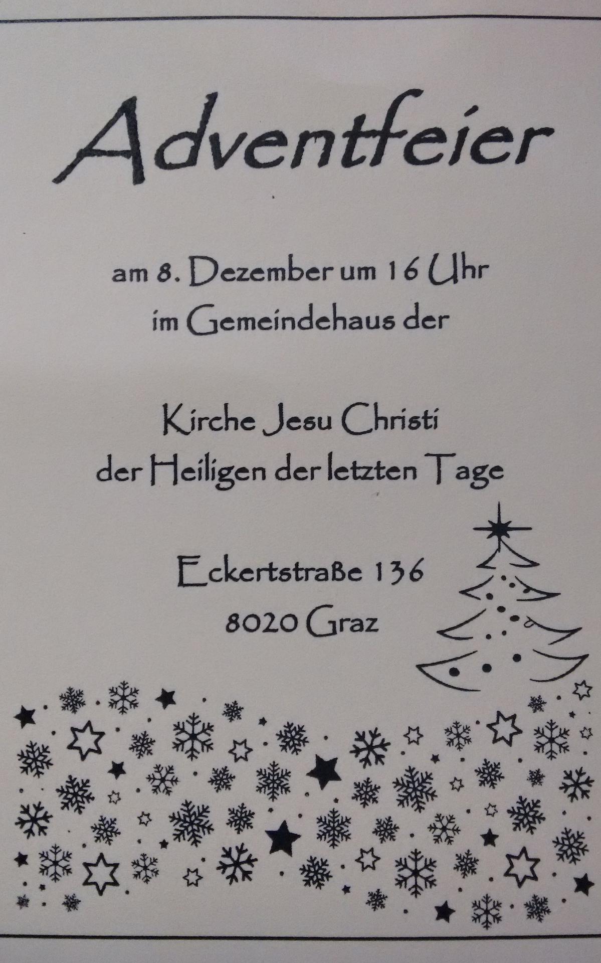 Eiladung zur Adventsfeier der Gemeinde Graz