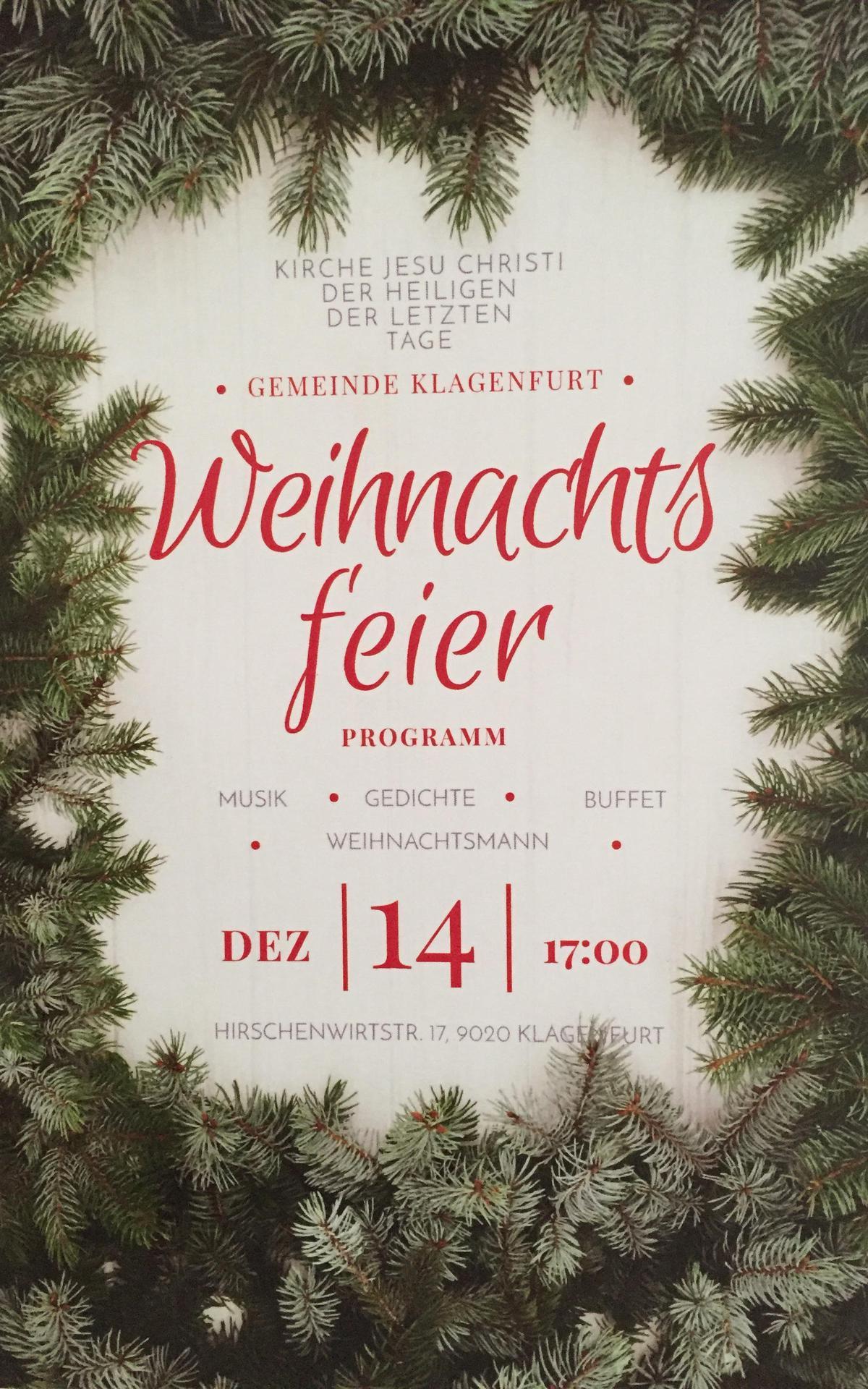 Einladung zur Gemeindeweihnachtsfeier 2018 in Klagenfurt