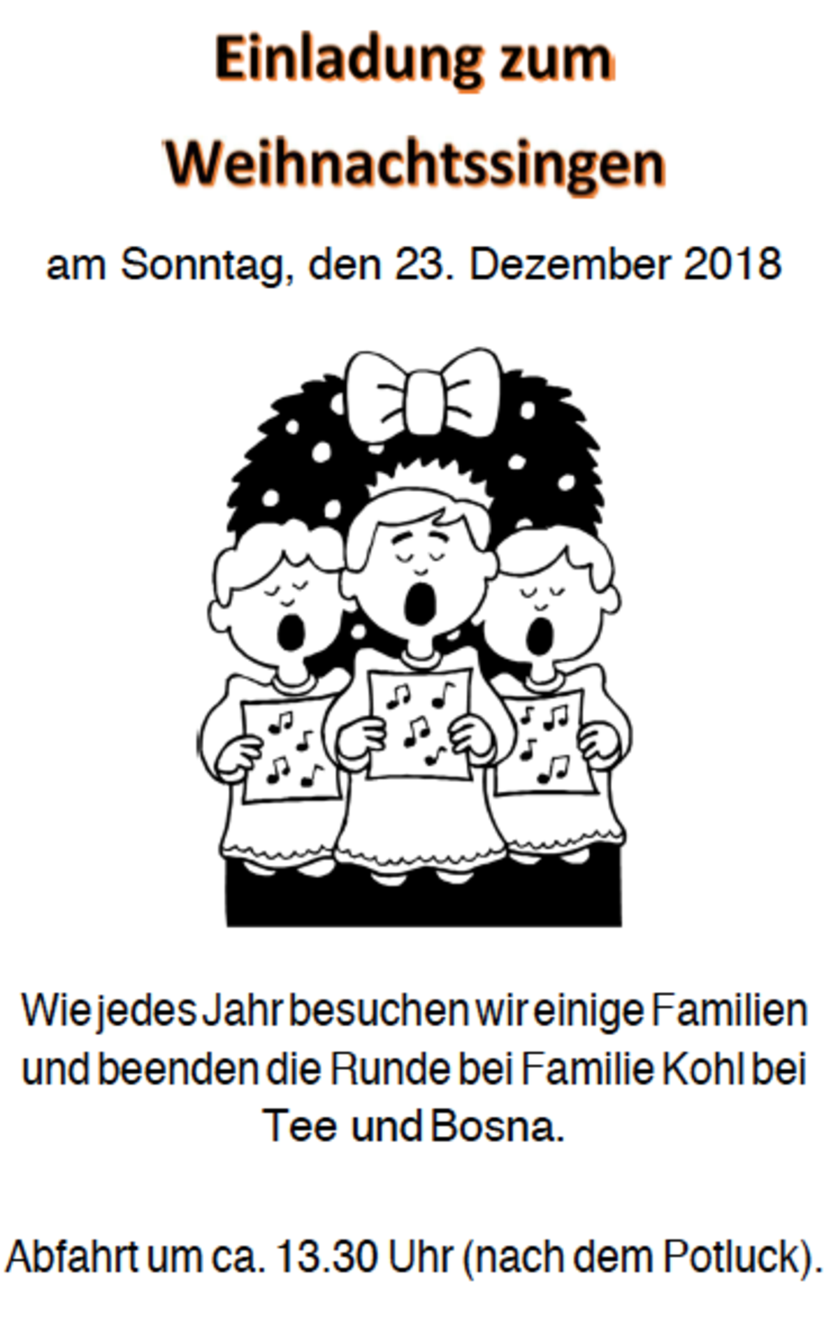 Einladung zum Haager Weihnachtssingen 2018