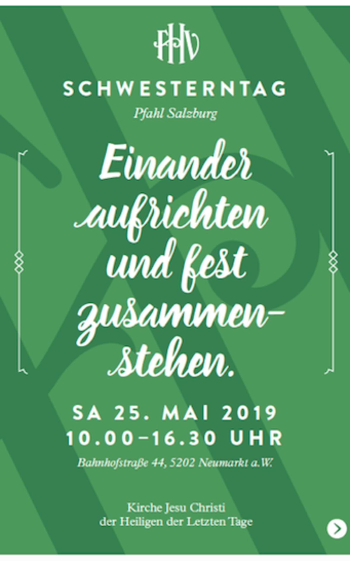 Am 25. Mai 2019 treffen sich Frauen und Freundinnen aus dem Pfahl Salzburg zu Workshops und Aktivitäten