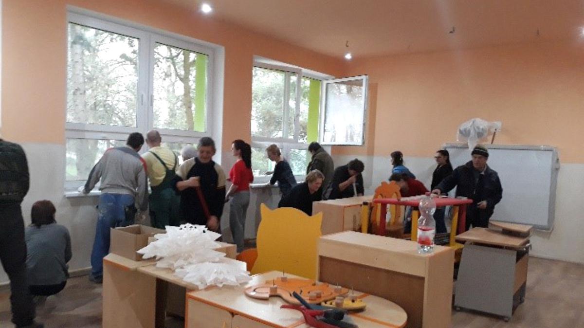 Renovierungsarbeiten in einer slowakischen Schule