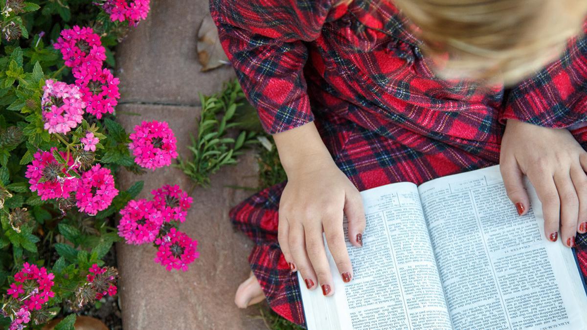 Eine Frau beim Schriftenstudium