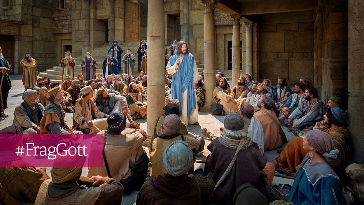 Jesus belehrt die Menschen im Tempel