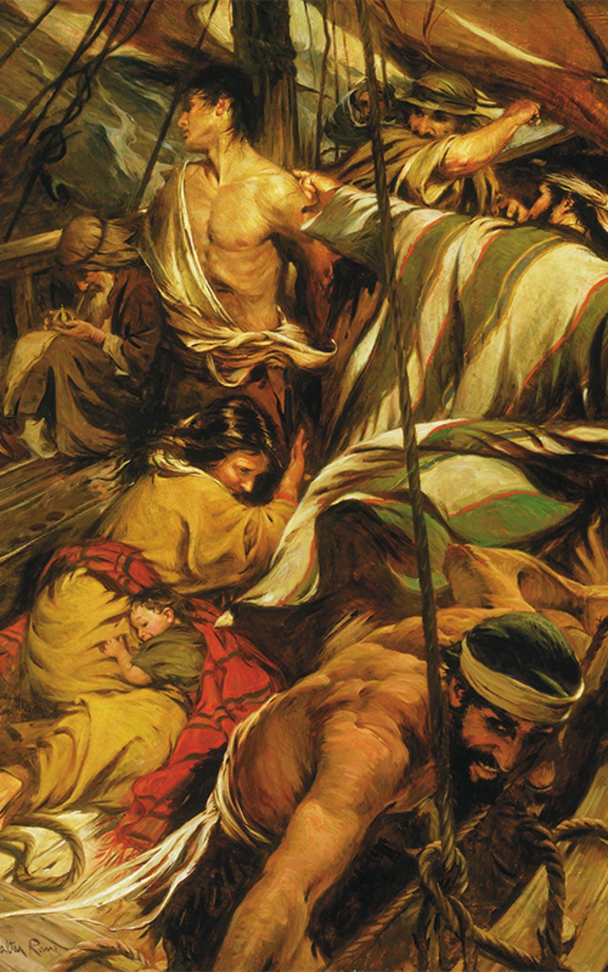 Nephi werd tijdens de overtocht gegeseld door zijn broers
