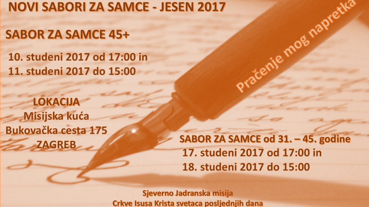 Novi Sabori za samce - Jesen 2017