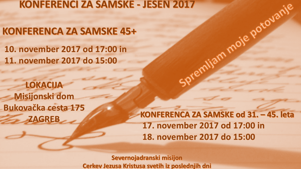 Konferenci za samske - jesen 2017