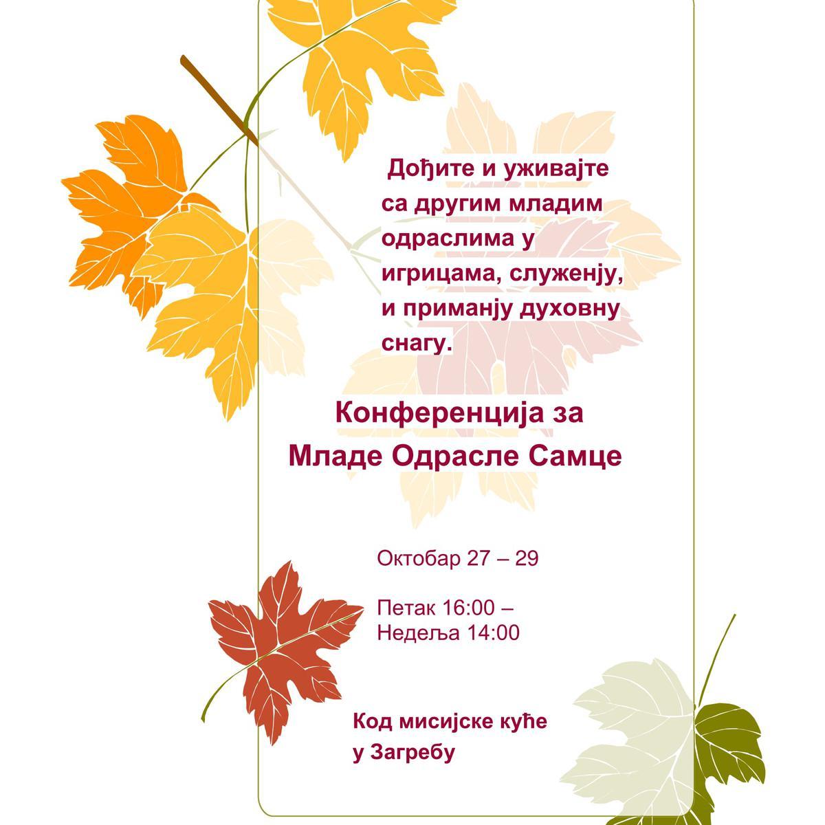 Конференција за младе одрасле самце октобар 2017