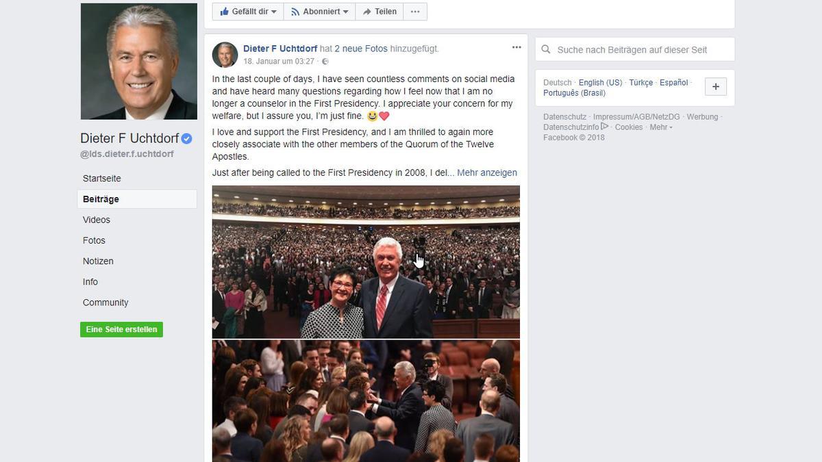 Elder Uchtdorf auf Facebook