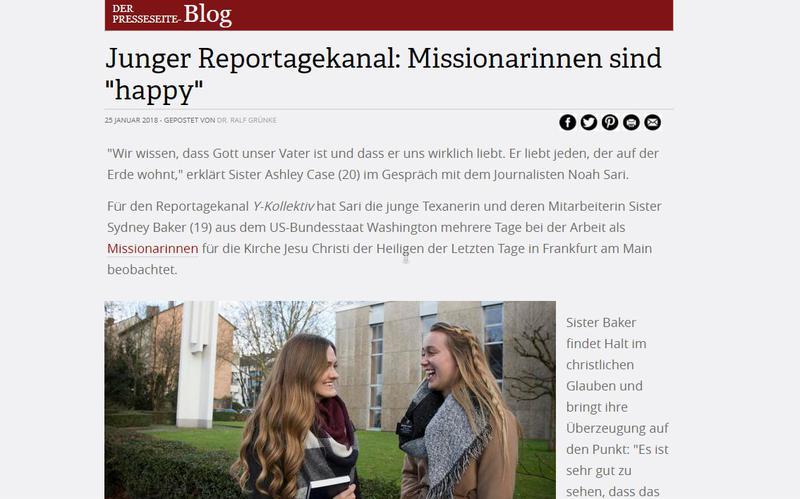 Junger Reportagekanal: Missionarinnen sind 'happy'