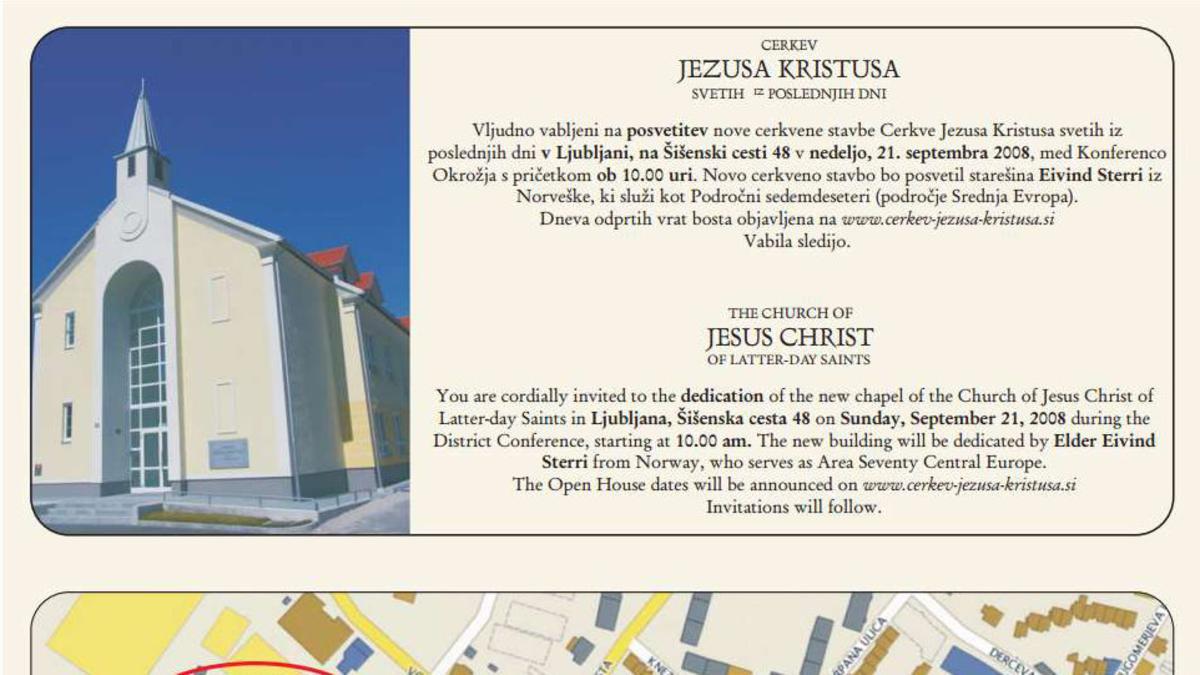 Vabilo na Konferenco Okrožja in posvetitev cerkvene stavbe v Ljubljani