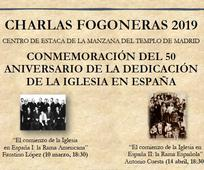 Cartel charlas fogoneras 50 aniversario de la Iglesia en España