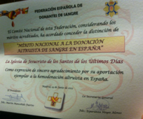 Certificado de distinción otorgado a La Iglesia de Jesucristo de los Santos de los Ultimos Dias por donar sangre