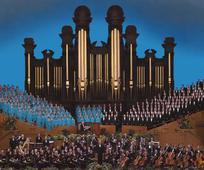Der Tabernakelchor und das Orchester vom Tempelplatz im historischen Tabernakel in Salt Lake City