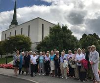 Group visiting The Visitors' Centre at the London Temple