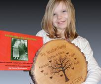 Girl with her family tree