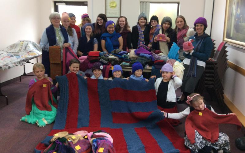 Knitting for Refugees by the Newcastle Emlyn Ward