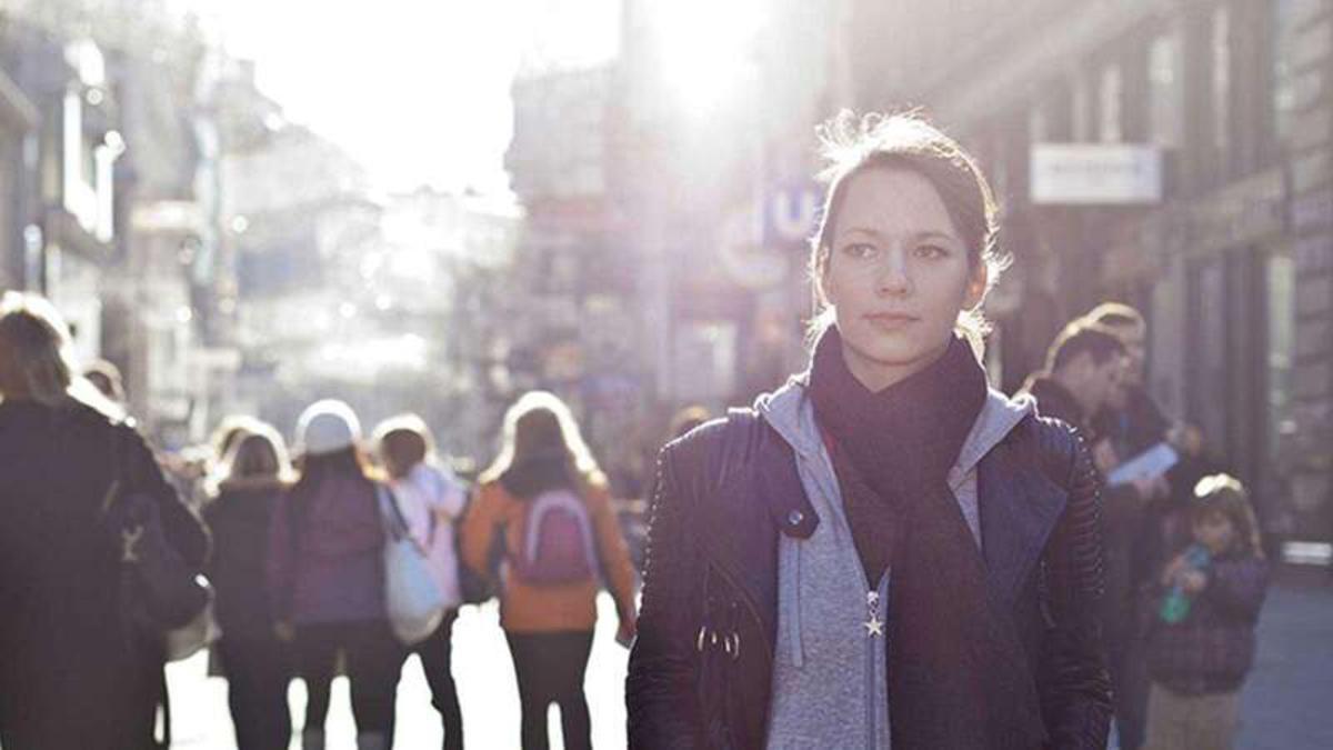 Woman walking street