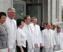 Autoridades generales en la dedicación del Templo de Tegucigalpa