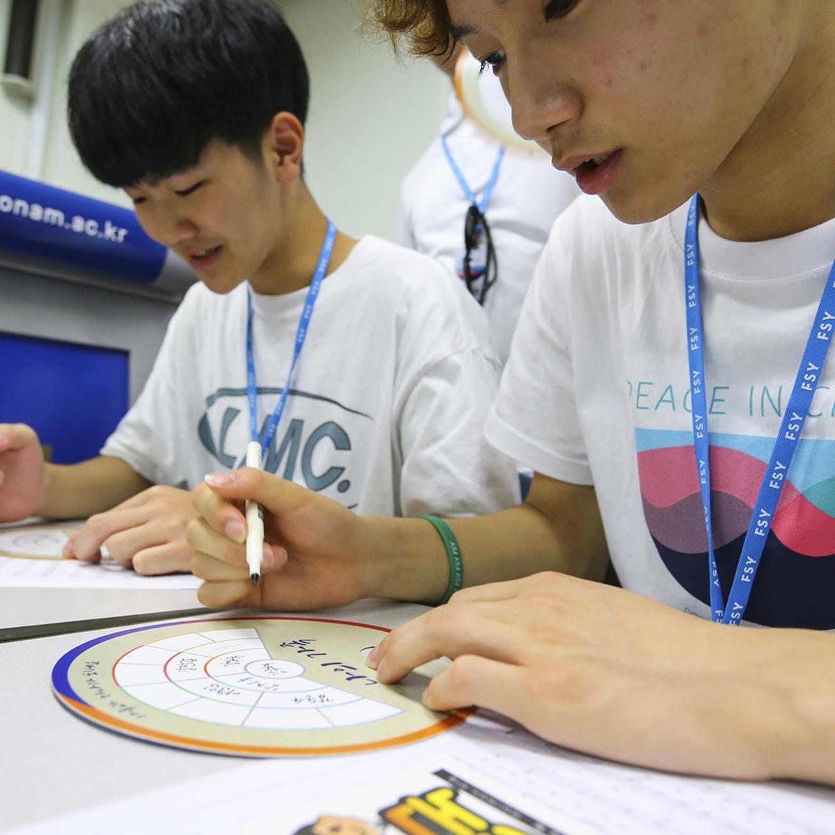 분반 활동에서 가족 역사 사업을 경험하는 청소년들