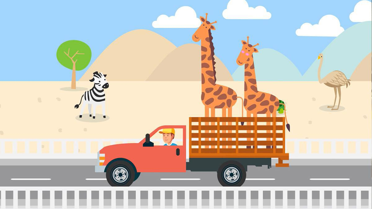 한 남자가 자신의 트럭에 두 마리의 기린을 태우고 고속도로를 달리고 있는 그림