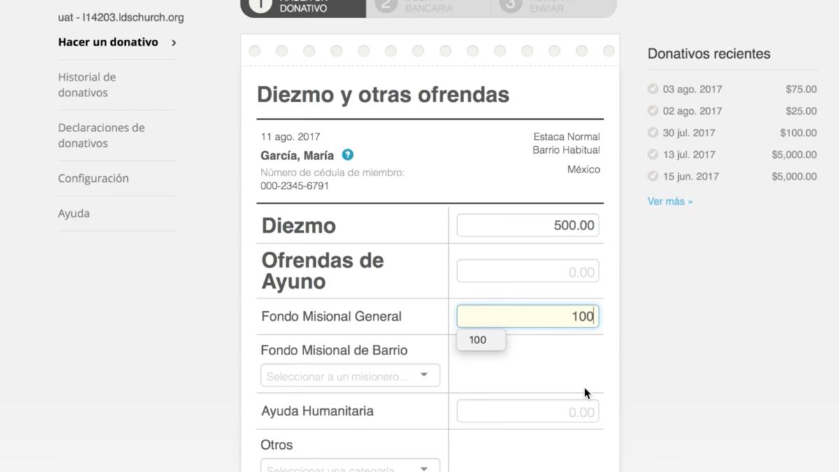 Papeleta digital para donaciones
