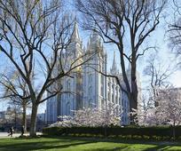 Templo de Salt Lake durante la conferencia general.