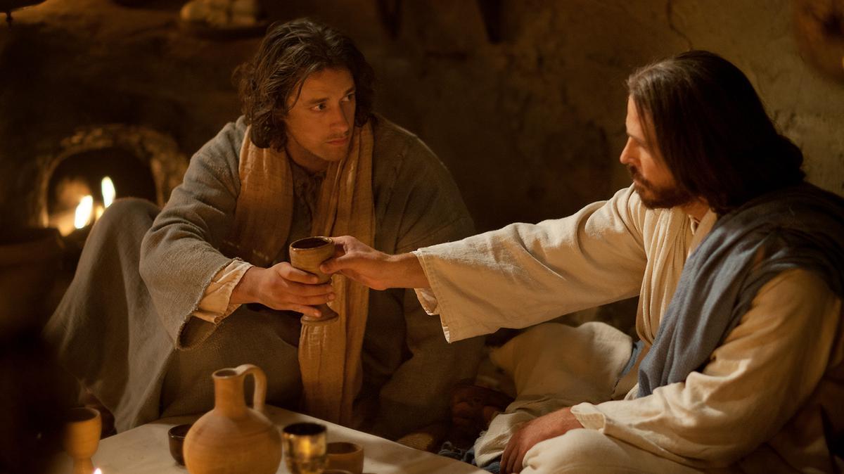 Jesucristo en la última cena.