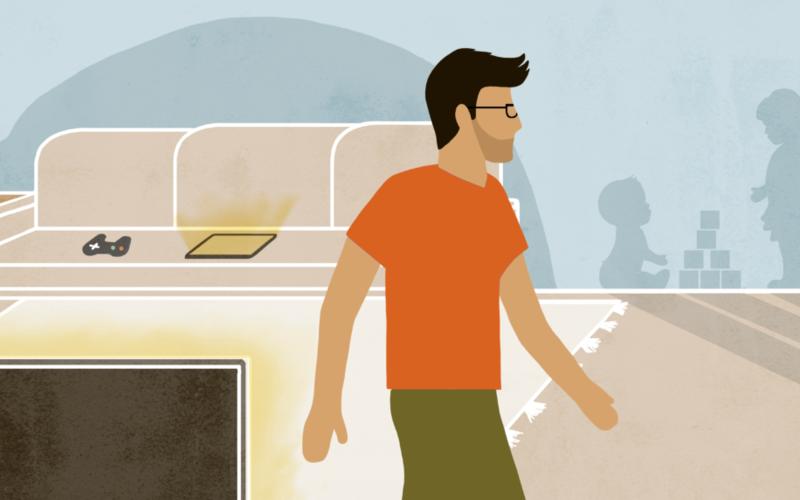 Ilustración de un hombre en la sala de una casa