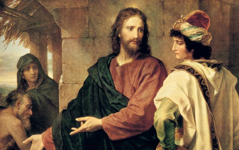 Detalle de Cristo y el joven rico, por Heinrich Hofmann.