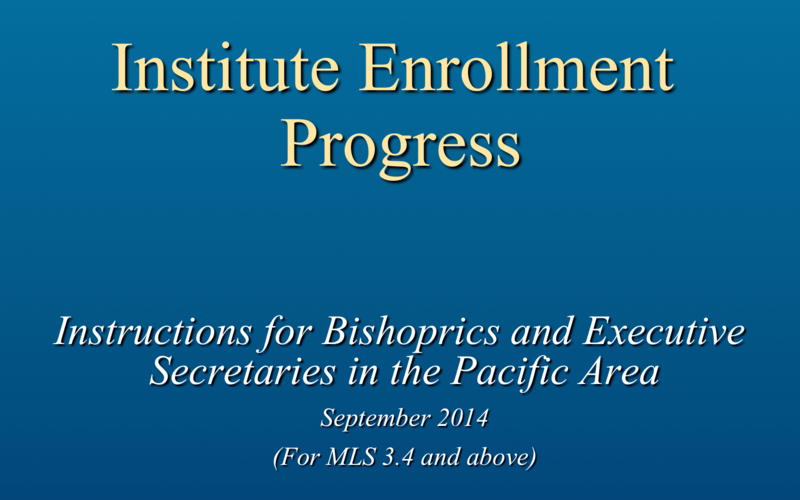 Institute enrollment process