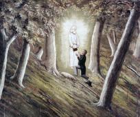 José Smith recibiendo las placas de oro del angel Moroni