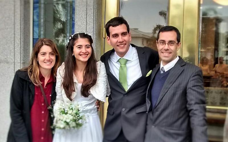 Día del sellamiento de Agustín Príncipe, con el obispo Michalek y su esposa
