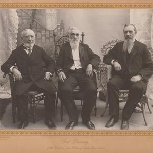 Left to right: George Q. Cannon, Lorenzo Snow, Joseph F. Smith. (Church History Library, Salt Lake City. Photograph by Fox and Symons.)