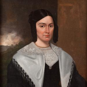 1842. Emma Smith became the first president of the Relief Society around the time she posed for this portrait. Portrait by David Rogers. (Courtesy Community of Christ Library-Archives, Independence, MO.)