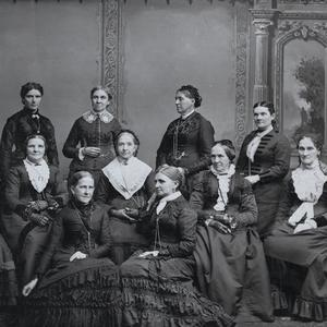 Circa 1882–1884. Front row, left to right: Jane S. Richards, Emmeline B. Wells. Second row: Phebe Woodruff, Mary Isabella Horne, Eliza R. Snow, Zina D. H. Young, Nancy M. J. Hyde. Back row: Dr. Ellis R. Shipp, Bathsheba W. Smith, Elizabeth A. Howard, Dr. Romania B. Pratt. Photograph by Charles R. Savage. (Church History Library, Salt Lake City.)