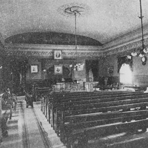 Circa 1886. Several different types of women's meetings were held in this hall in Salt Lake City, including retrenchment meetings and Mutual Improvement Association June conference sessions.